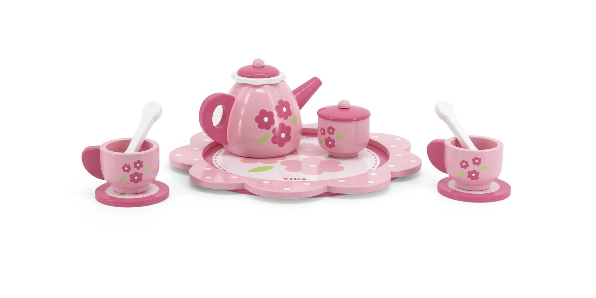 Kohviserviis - roosa ja lilledega