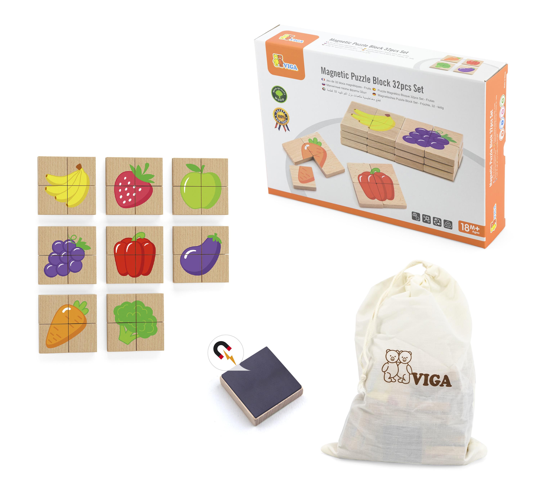Viga 50700 Zestaw puzzli magnetycznych - owoce i ..