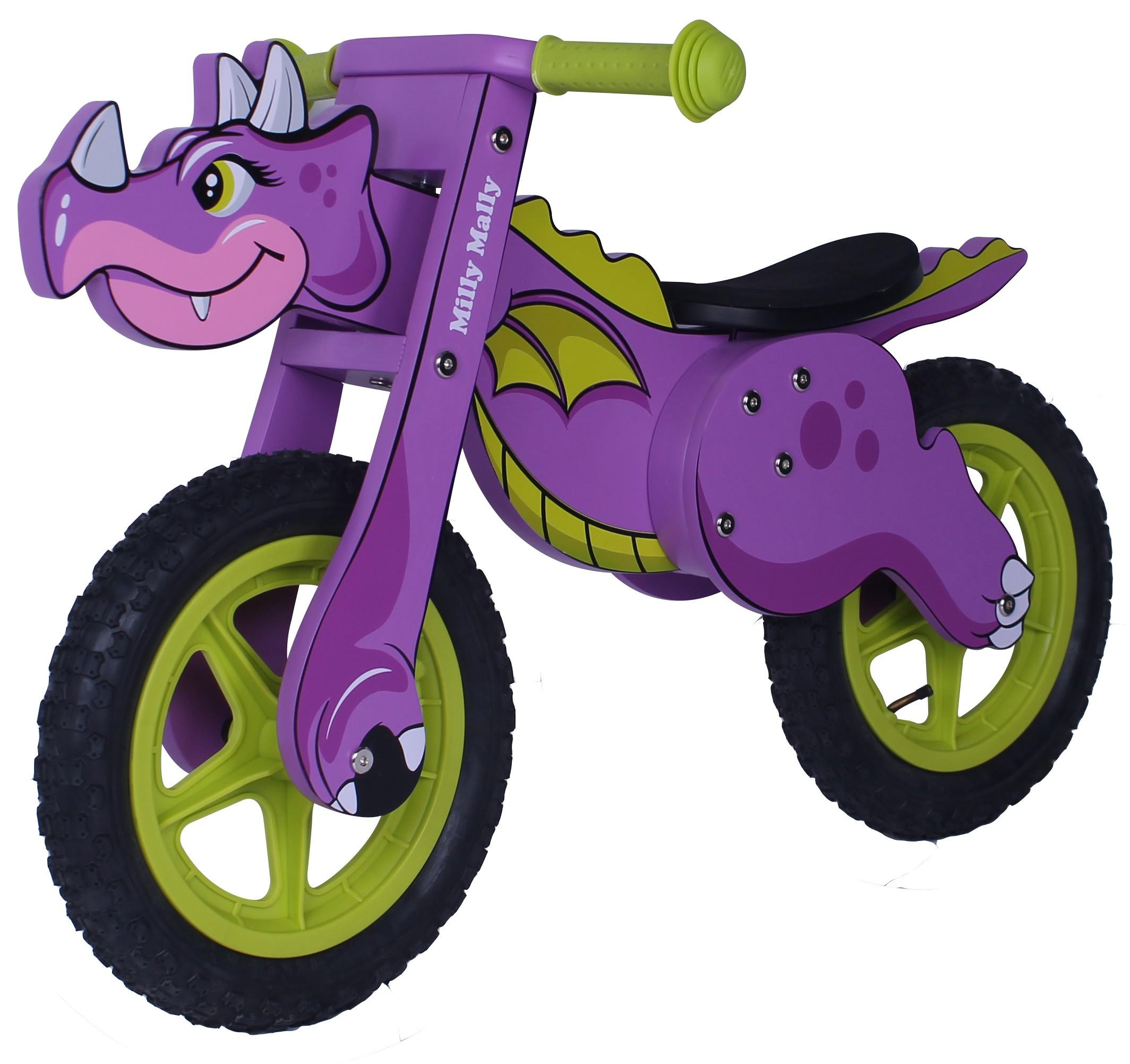 Milly Mally puidust jooksuratas Dino Violet